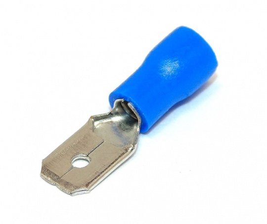 Insulated 6.3mm Blade Terminal, Spade, Male, Blue, 16-14awg