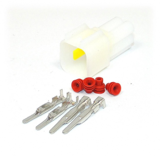 4 Way Yazaki YL Series Connector Kit Male, inc. terminals and seals