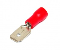 Insulated 6.3mm Blade Terminal, Spade, Male, Red, 22-16awg