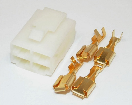 4 Way Motorcycle Regulator Rectifier Connector Female 6.3mm Natural Kit Inc. Terminals