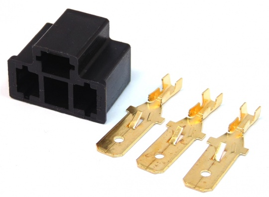 3 Way H4 HID Headlight Connector Male Black inc Terminals